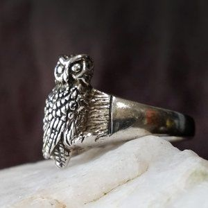 Solid Sterling Silver 925 Ring Owl